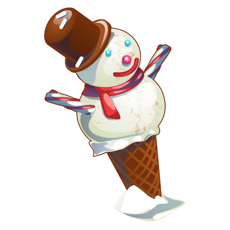 Ice cream in a waffle cone made in the Christmas style in the shape of a snowman isolated on white background. Vector cartoon close-up illustration Ilustrace