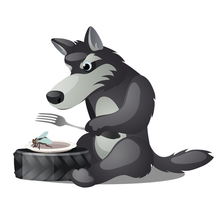 Hungry animated grey wolf with fork and empty plate with fly isolated on white background. Vector cartoon close-up illustration