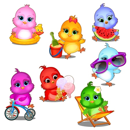 A set of cute little multicolored chicks having fun isolated on white background. Vector cartoon close-up illustration