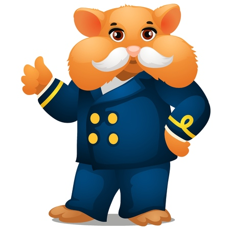 Hamster in the costume of the captain of the ship isolated on white background. Vector cartoon close-up illustration