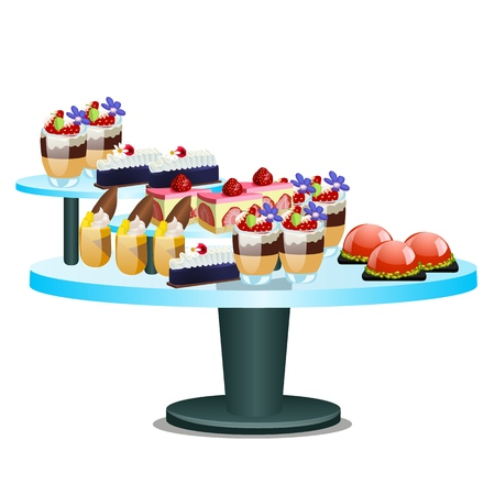 Buffet table with sweet desserts isolated on white background. Vector cartoon close-up illustration Illustration
