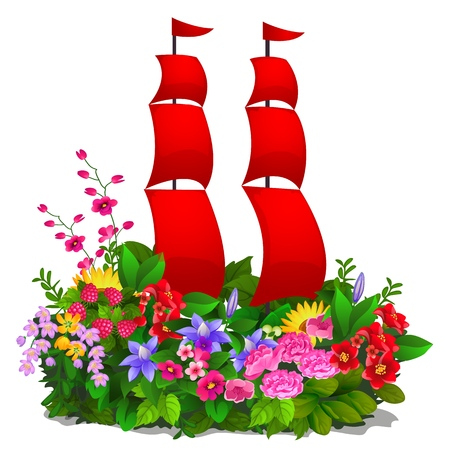 Decorative composition in the form of plants, flowers and red sails isolated on white background. Vector cartoon close-up illustration