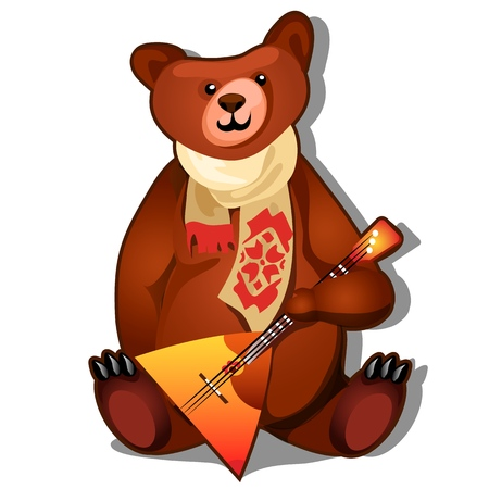 The brown bear holds the national Russian musical instrument balalaika in its paws isolated on white background. Vector cartoon close-up illustration