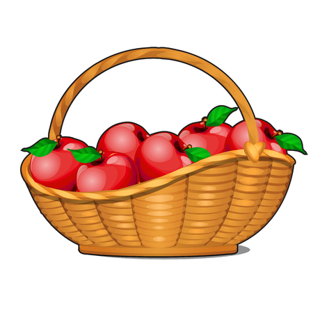 Wicker basket filled with ripe red apples isolated on white background. Food fitness menu. Vector cartoon close-up illustration 向量圖像