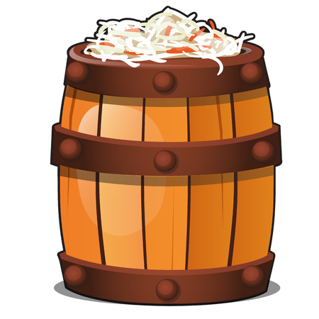 Wooden barrel filled with fermented vegetarian sauerkraut isolated on white background. Traditional old rural Russian marinated food. Vector cartoon close-up illustration