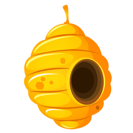 Nest or vespiary of wild bees isolated on white background. Vector cartoon close-up illustration Illustration