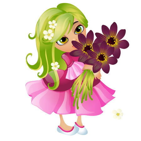 Cute young animated girl with green hair and a bouquet of flowers isolated on white