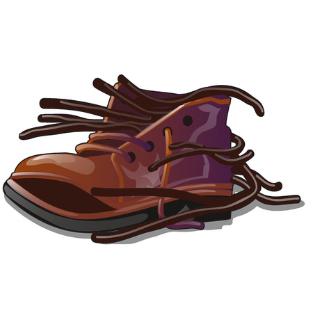Old brown shoe with loose laces isolated on white background. The object is a repair shop for shoes. Vector cartoon close-up illustration.
