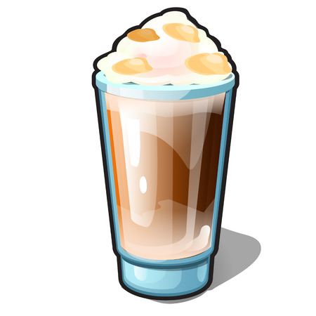 An iced coffee with caramel and whipped cream in a glass cup isolated on a white background. Recipes of delicious drinks or beverage and cocktails. Cartoon vector close-up illustration.