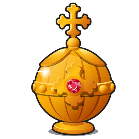 The Golden Orb of the Emperor decorated with precious stone ruby isolated on white background. A symbol of greatness and autocracy of the king. Vector cartoon close-up illustration.