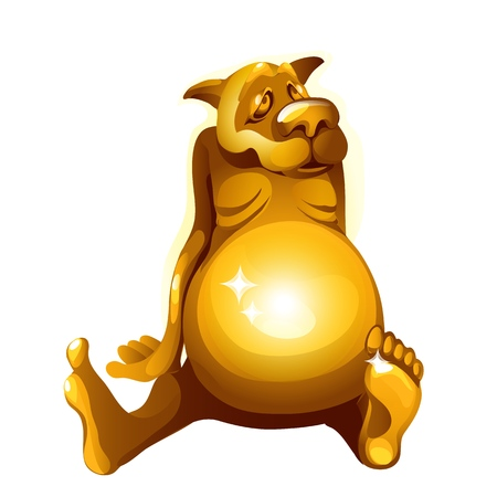 Golden figurine of a dog gorged itself isolated on white background. Vector cartoon close-up illustration.