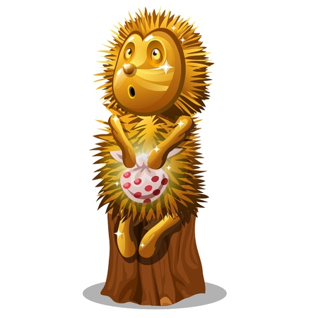 Golden statuette in the form of a hedgehog with a bag sitting on a stump isolated on white background. Vector cartoon close-up illustration