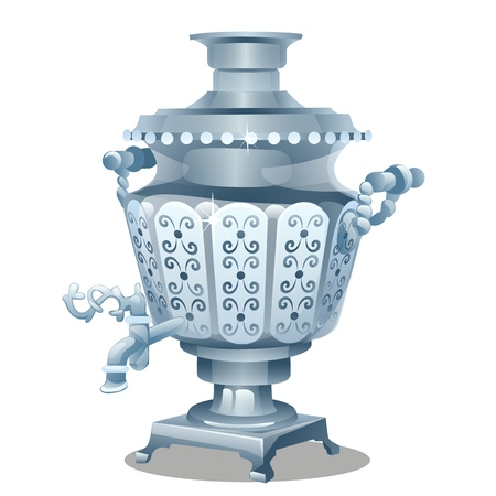 Samovar with ornament isolated on white background. Vector cartoon close-up illustration