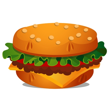 Big burger with cutlet of beef meat, melted cheese, leaf of lettuce and tomato isolated on white background. Vector cartoon close-up illustration. Furniture in the form of food Ilustracja