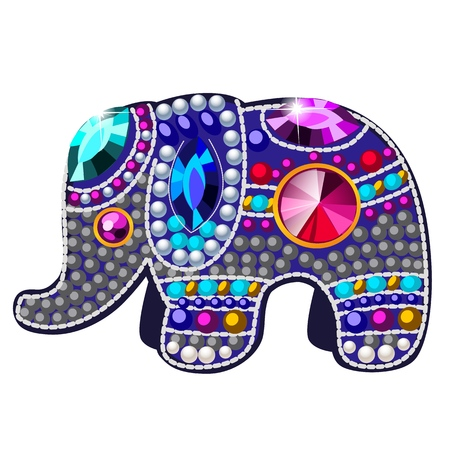 Elephant figurine made of precious stones in the form of a brooch isolated on white background. Vector cartoon close-up illustration