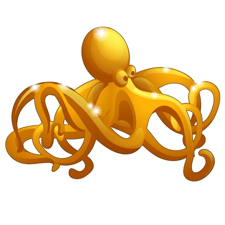 The figure of the octopus made of gold isolated on white Ilustração