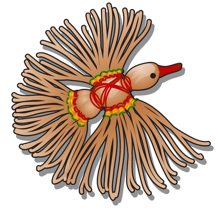 Doll-amulet bird of happiness made of jute twine and colored yarn isolated on white background. Vector cartoon close-up illustration