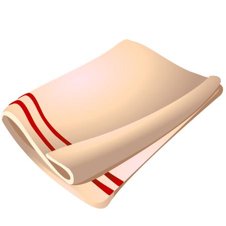 Serviette en coton blanc isolé sur fond blanc. Illustration de gros plan de dessin animé de vecteur