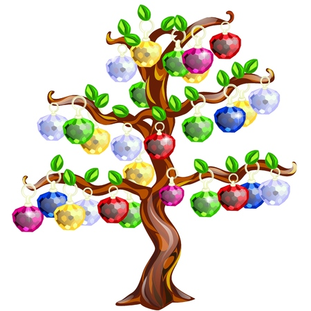 Decorative tree with apples made of precious stones isolated on white Ilustração