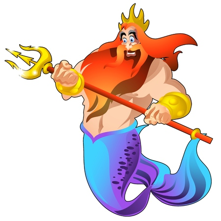 Poseidon with a golden trident and a crown isolated on white background. Vector cartoon close-up illustration Illustration