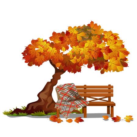 Banco acogedor bajo el árbol de otoño. Ilustración de vector