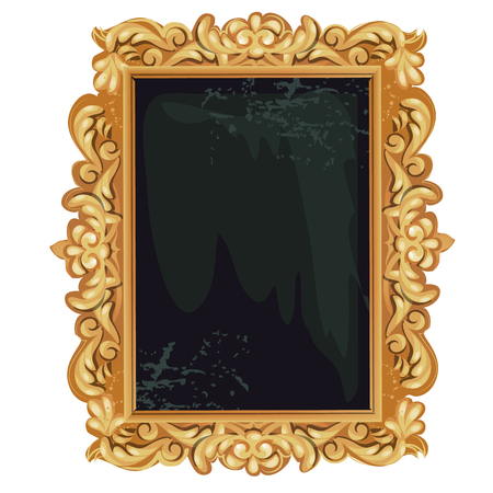 Vintage golden ornate florid frame with blank space for your text or portrait isolated on white Banque d'images - 123992333