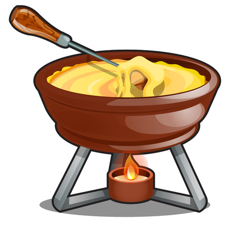 Cheddar and hot cheese fondue isolated on a white background. Cartoon vector close-up illustration 일러스트