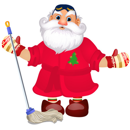 Santa Claus with a mop to wash the floors isolated on white