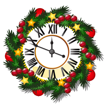 Vintage wall clock decorated with golden balls, spruce twig, stars, baubles isolated on white