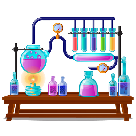 The sequence of chemical color reactions, stages of created of magic potions isolated on white Illustration
