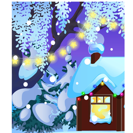 Poster with cozy rustic small hunting lodge with glowing window and Christmas decorations, glowing garland, baubles. Stockfoto - 124972860