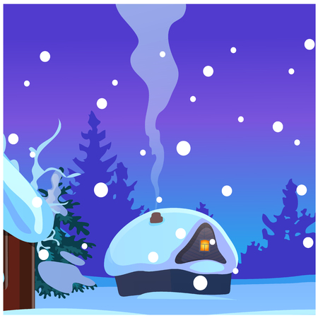 Poster with cozy rustic small hunting lodge with glowing window and smoke from the chimney in winter evening.