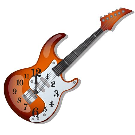 Wall clock with a design of an electric guitar isolated on white