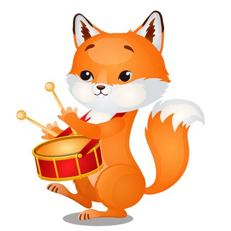 Small wild forest animal play on musical instrument. Fox with pioneer drum isolated on white background. Sketch of festive poster, party invitation, holiday card. Vector cartoon close-up illustration.