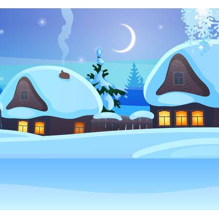 Schets voor kerstaffiche met gezellige rustieke huisjes met gloeiende ramen. Sjabloon voor groet kerstkaart. Besneeuwde winterlandschap met halve maan in de nacht, feestelijke stemming. vector tekenfilm