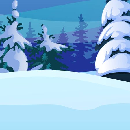 Winter sketch on the background of snowy spruce and tree in the forest. Sample of Christmas and New year greeting card, festive poster or party invitations. Vector illustration close-up cartoon.