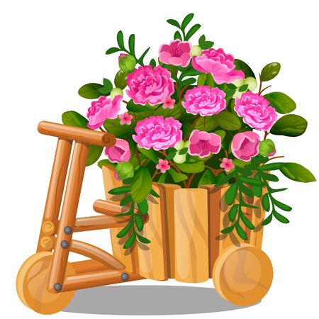 Flower pot in the shape of wooden cart with bucket with pink flowers isolated on white Ilustração
