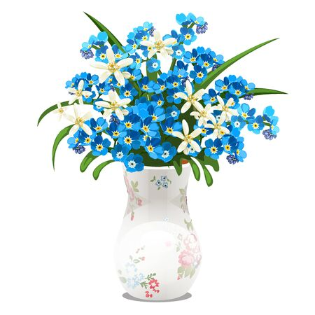 Bouquet of spring flowers and blue forget-me-nots in a porcelain vase isolated on white background. Vector cartoon close-up illustration. 向量圖像