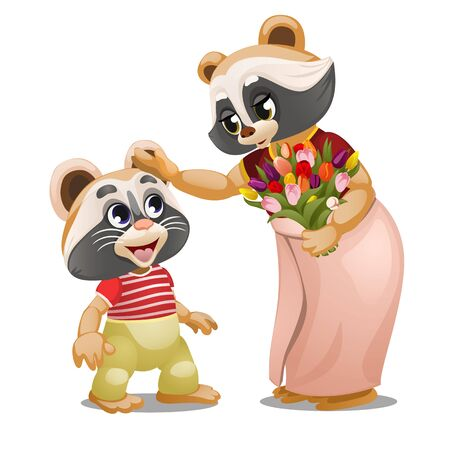 A little raccoon gave a bouquet of tulips to his mother isolated on a white background. The mother caresses the head of his son. Vector cartoon close-up illustration.
