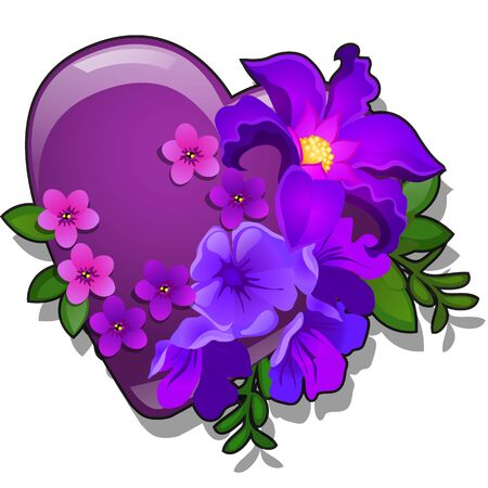 Decor form of heart purple color decorated with fresh flower buds isolated on white background. Vector cartoon close-up illustration. 向量圖像