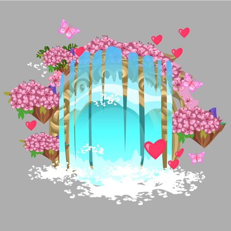The decor in the form of a fantasy waterfall with elements of flowers, hearts and butterflies isolated on grey background. Vector cartoon close-up illustration. 向量圖像
