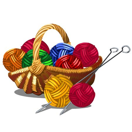 A set of tangles of multicolored yarn in a wicker basket isolated on white background. Vector cartoon close-up illustration