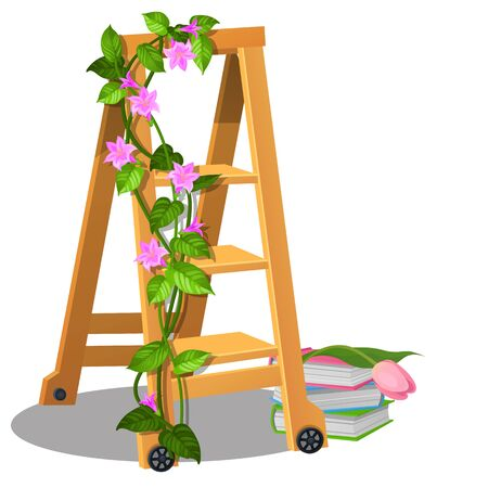 The wooden mobile step ladder is decorated with climbing plants with flowers and books isolated on white background. Interior design element. Vector cartoon close-up illustration. 向量圖像