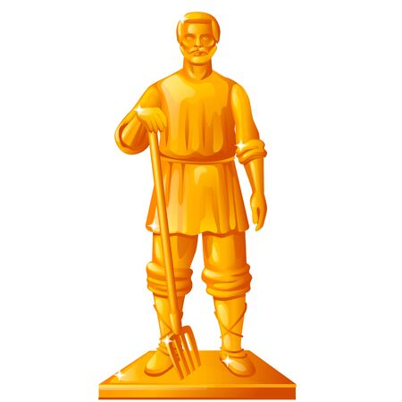 Golden statue in the shape of a peasant with a garden pitchfork isolated on white