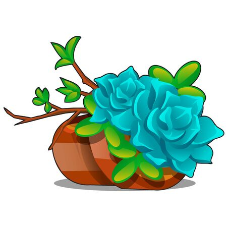 Clay flower pots with a composition of twigs and succulents isolated on a white background. Home potted plants. Vector cartoon close-up illustration 向量圖像