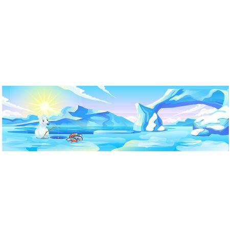 Cute picture of a polar bear fishing. Vector cartoon close-up illustration Illustration
