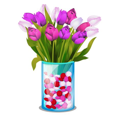 Bouquet of spring flowers of tulips in a transparent glass vase isolated on white