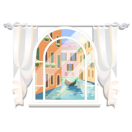 View of the city river from the window with a floating boat isolated on white Ilustração
