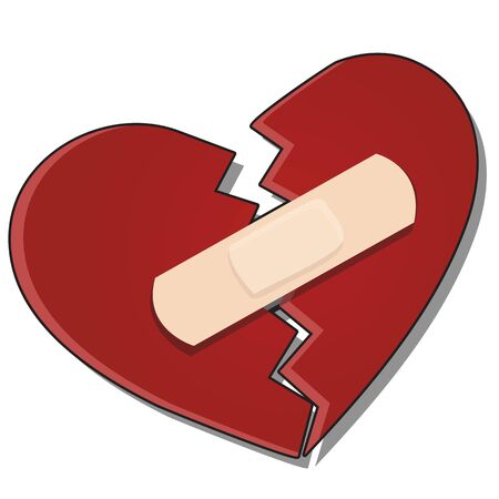 The broken heart is glued together with a plaster isolated on a white background. Vector cartoon close-up illustration.