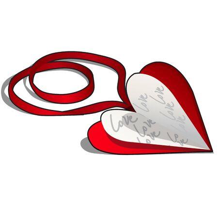 Valentine day card on a red ribbon isolated on a white background. Vector cartoon close-up illustration. 向量圖像